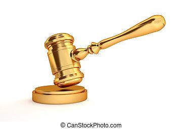 gold judge's gavel - golden judges gavel isolated on white...