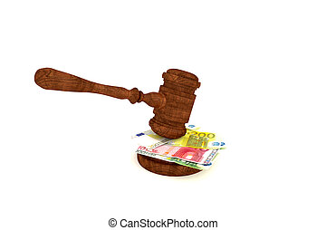 Euro banknotes and judge's gavel - Stacks of money and...