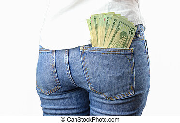 Money in my pocket - A bunch of cash on a woman's jeans back...