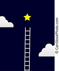 Star Ladder - Ladder steps up to star with clouds