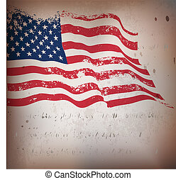 USA flag in grunge - USA ,American flag waving in grunge