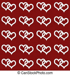White Interwoven Hearts and Red Thin Horizontal Stripes...