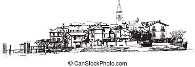 City pictyre - Drawing of Isola dei Pescatori lit...