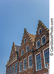 Facades in the old center of Dokkum, the Netherlands