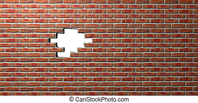 Face Brick Wall With Hole - A flat face brick wall texture...
