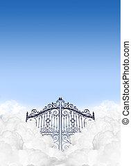 céus, portões, em, a, Nuvens