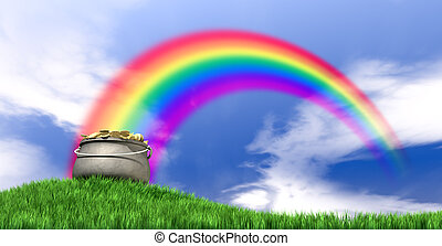 Pot Of Gold And Rainbow On Grassy Hill - A leprechaun pot...