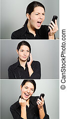 Tryptich of a womans reactions to a phone call - Tryptich...