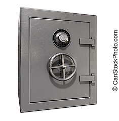 Safe Shut - A shut metal safe on an isolated white...