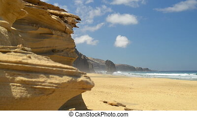 Roque del Morro and sandstone cliff - Fuerteventura cliff...