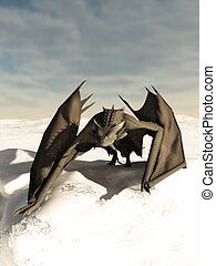 Dragon Prowling through the Snow - Grey scaled dragon...