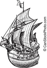 galleon - Vector drawing of sailing ship stylized as...