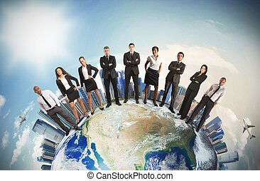 Global business team - Concept of global business team with...