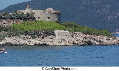 Mamula island, boat - Montenegro, Mamula island, boatl