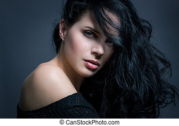 Dark moody portrait of a brunette beauty - Dark moody...