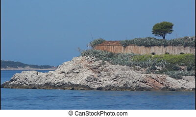 Fort, island, pan right - Montenegro, Mamula island, pan...