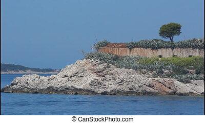 Fort, island, pan right - Montenegro, Mamula island, pan...