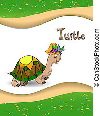 Alphabet letter T and turtle