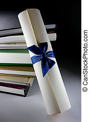 Certificate scroll and books concept of education stairway...