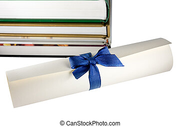 Certificate scroll and books. concept of education stairway...