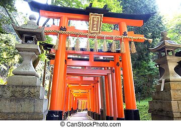 Fushimi Inari Shrine in Kyoto - Close-up of Torii gates at...