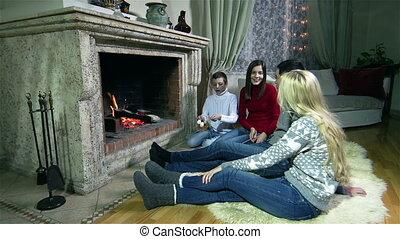 Roasted Marshmallows - Family enjoying spending time...
