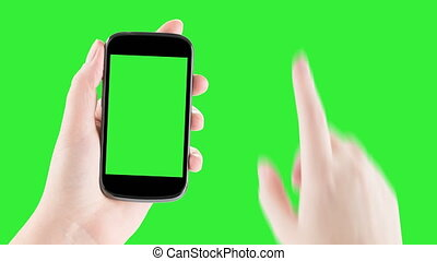 female hands using a smart phone - Holding Smartphone,...