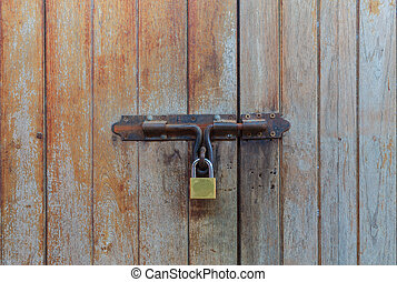 Locked wooden door background