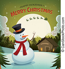 Christmas Eve With Snowman Background - Illustration of a...