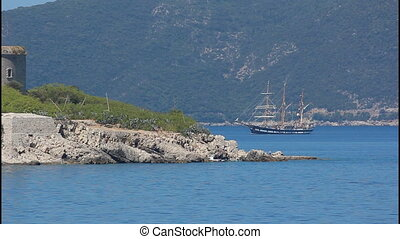 Island, Sailing ship, sea
