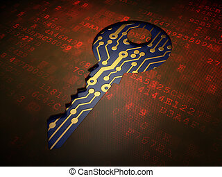 Security concept: Key on digital screen background