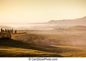 Morning fog view in Tuscany - Morning fog view at Valley...