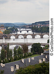 background of the bridges of Prague