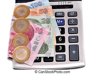 Turkish money and calculating machine on white background