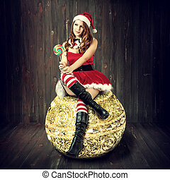 sexy christmas woman in santa claus clothes - sexy christmas...