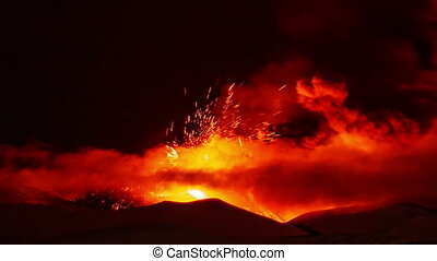 Etna Eruption at night Sicily, Italy Time Laps