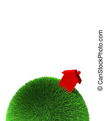 red house on sphere of grass