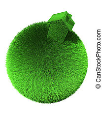 house of grass on sphere of grass
