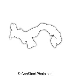 map of panama with shadow - white map of panama on black...