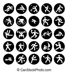 logos of sports, olympics buttons black on white background
