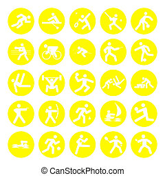 logos of sports, olympics games, yellow on white background