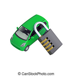 Green car and combination lock - Green small car and...