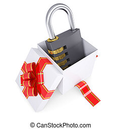 Combination lock in a gift box. 3d render isolated on white...