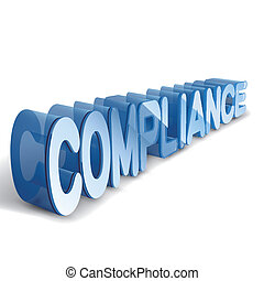 3d blue word COMPLIANCE isolated white background