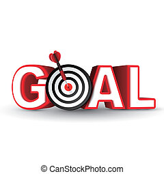 goal red word and conceptual target with arrow