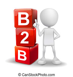3d illustration of person with word B2B cubes
