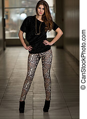 Model Wearing Pants With Animal Print - Portrait Of Young...