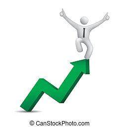 3d businessman jumping on green up arrow