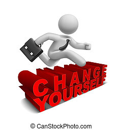 3d businessman jumping over 'change yourself' word