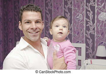 Dad and baby in home - Young dad and baby portrait in home...